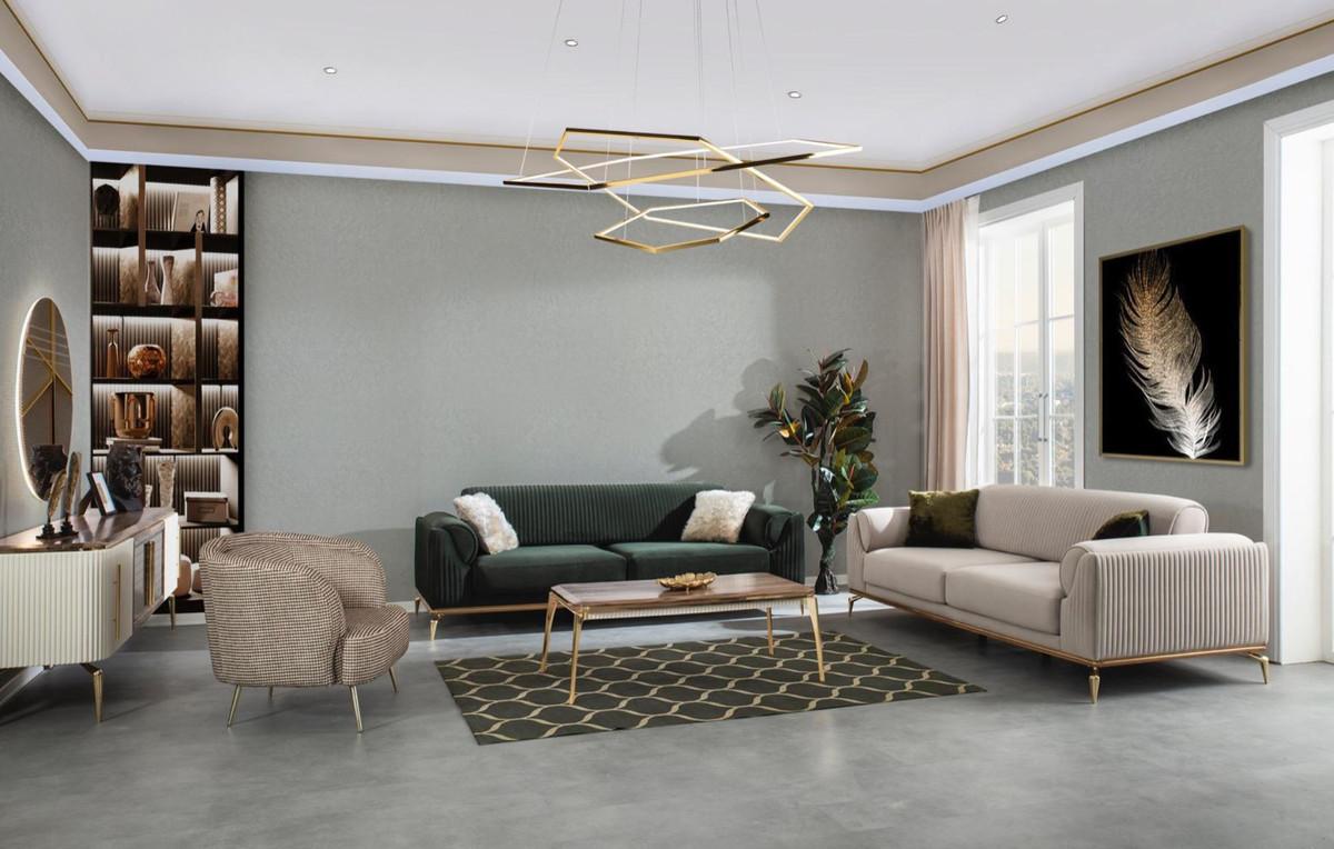 casa padrino fauteuil de salon art deco de luxe marron gris or 85 x 90 x h 100 cm mobilier de salon mobilier art deco