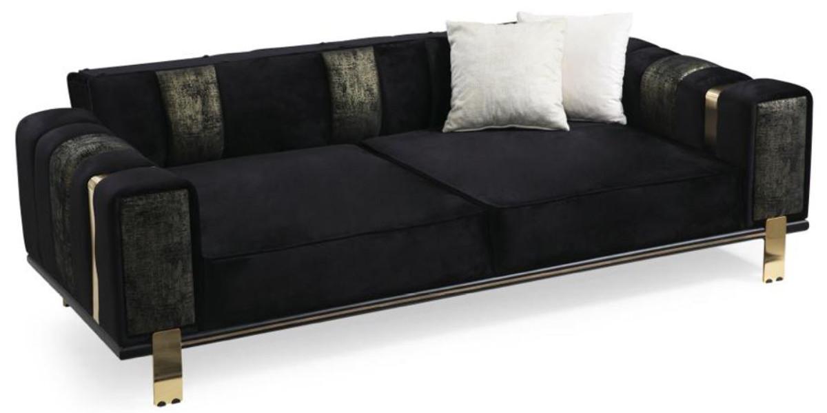 casa padrino canape de salon de luxe avec dossier reglable noir or 223 x 93 x h 76 cm meubles de salon meubles de luxe