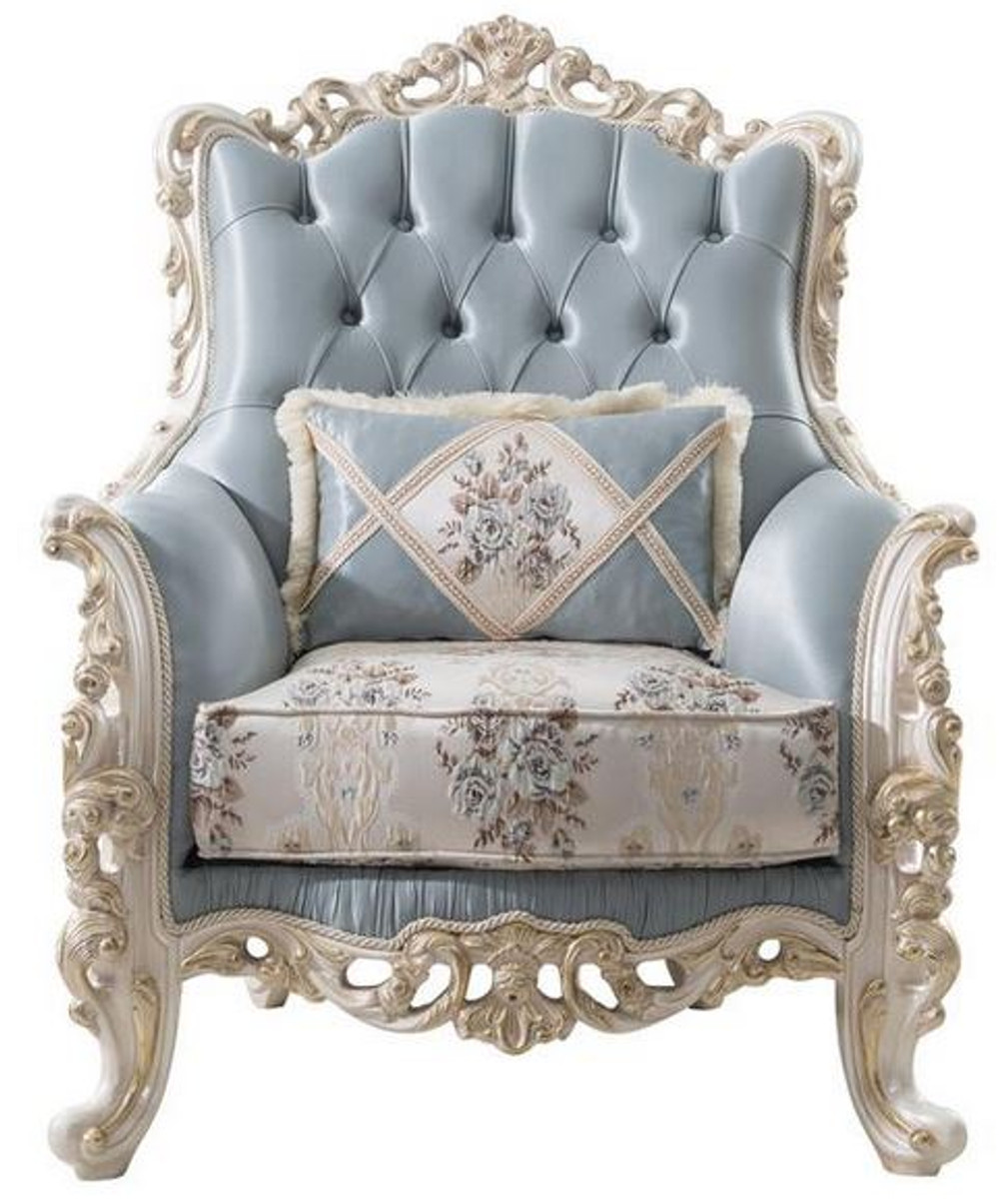 Casa Padrino Luxury Baroque Living Room Armchair With Decorative Pillow Light Blue Cream White Gold 97 X 90 X H 120 Cm Noble Baroque Living Room Furniture