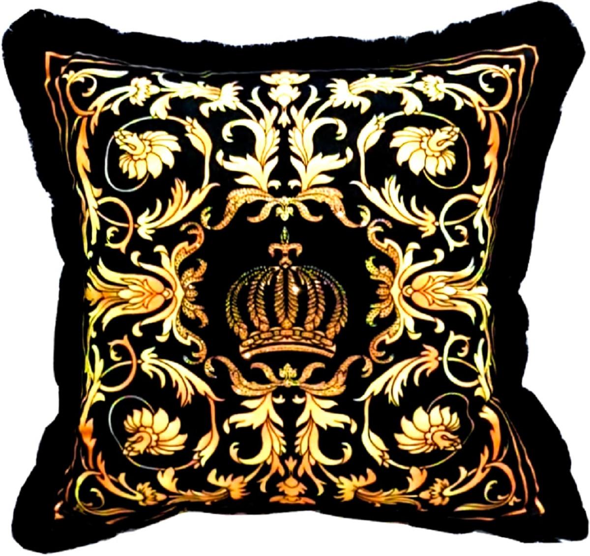 harald gloockler luxury decorative pillow pompoos by casa padrino black gold baroque pattern black 50 x 50 cm gloockler pillow with rhinestones