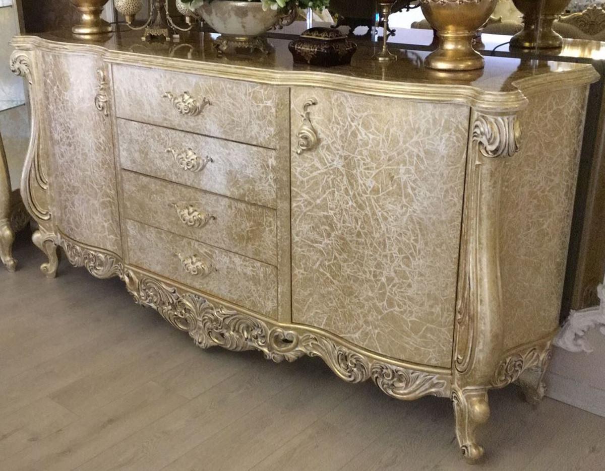casa padrino buffet baroque de luxe or antique 220 x 55 x h 110 cm armoire en bois massif avec 2 portes et 4 tiroirs noble magnifique