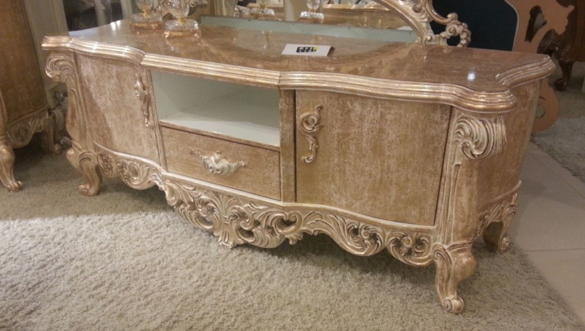 casa padrino armoire tv baroque de luxe or antique 220 x 55 x h 65 cm magnifique meuble tv en bois massif mobilier de salon baroque