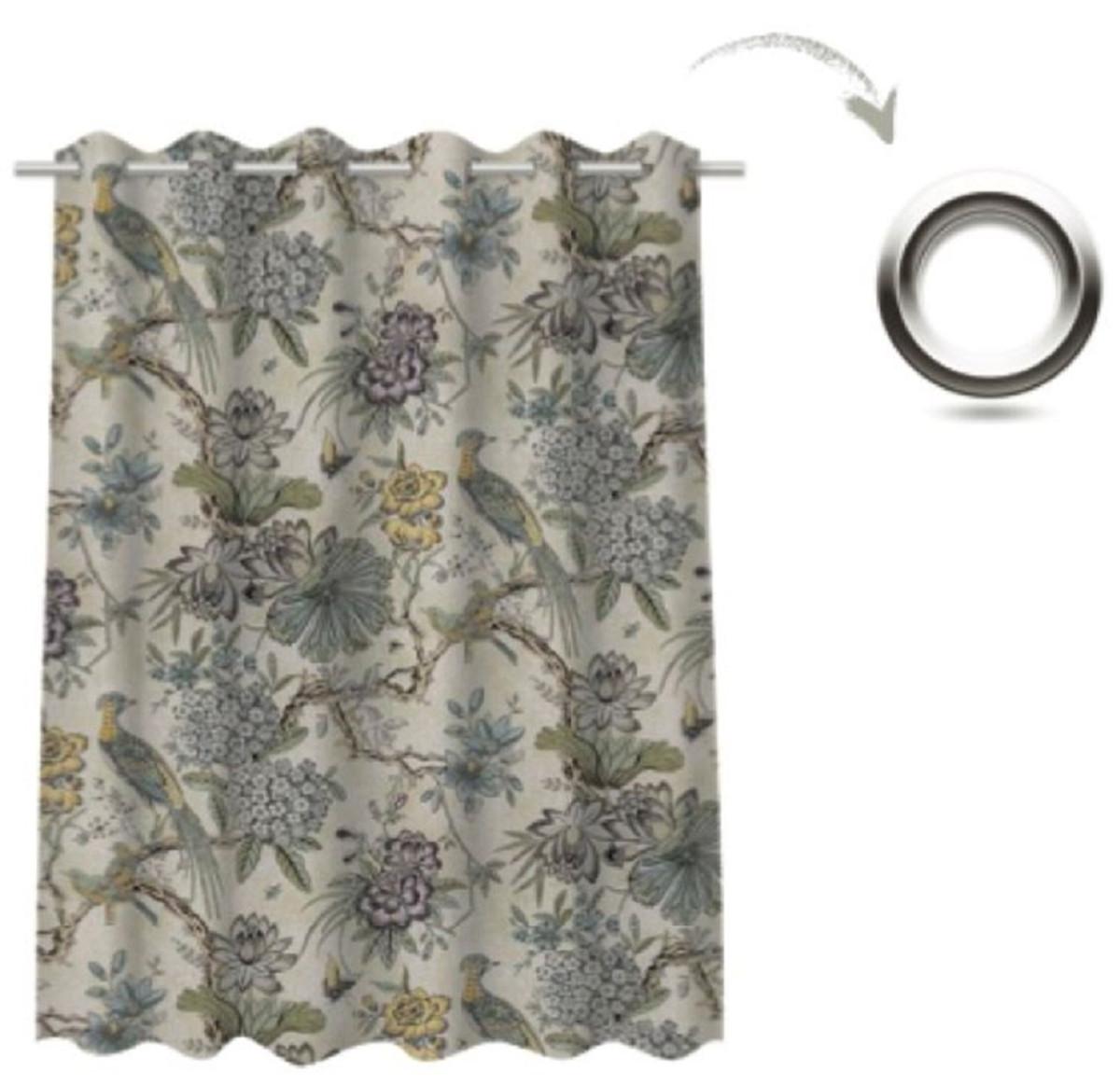 casa padrino ensemble de rideaux de luxe fleurs oiseaux beige clair multicolore 250 x h 290 cm rideaux en lin et velours imprimes rideaux a