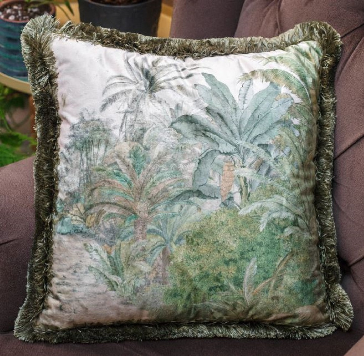 casa padrino luxury decorative pillow palm trees landscape cream green 45 x 45 cm printed velvet pillow with fringes living room decoration