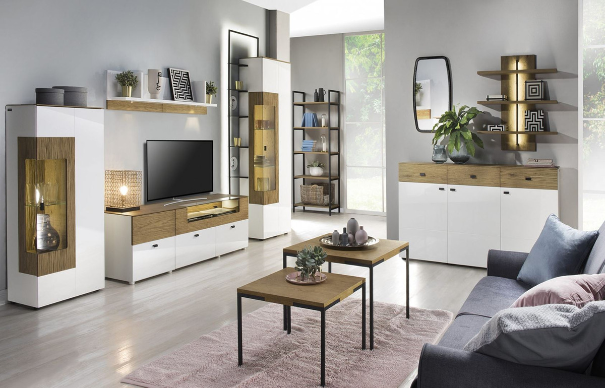casa padrino vitrine d angle blanc marron 65 8 x 40 x h 138 3 cm vitrine moderne en bois massif eclairee armoire de salon meubles de salon