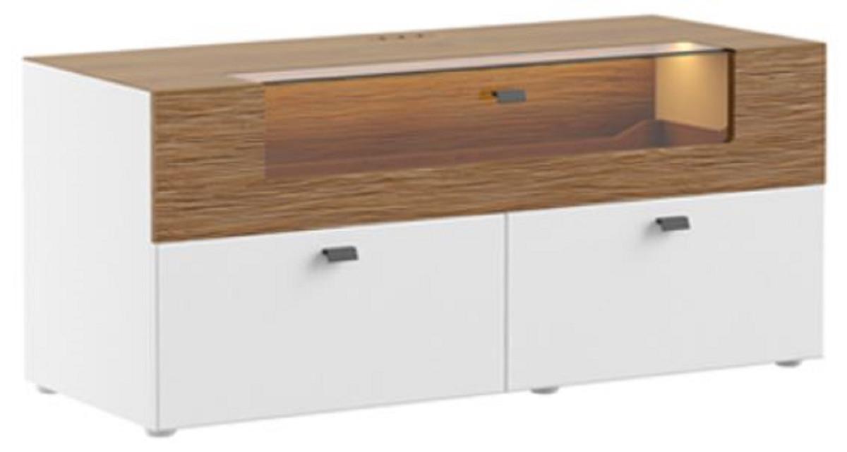 casa padrino cabinet de television marron blanc 125 x 48 x h 55 cm meuble tv lumineux en bois massif avec tiroirs mobilier de salon moderne