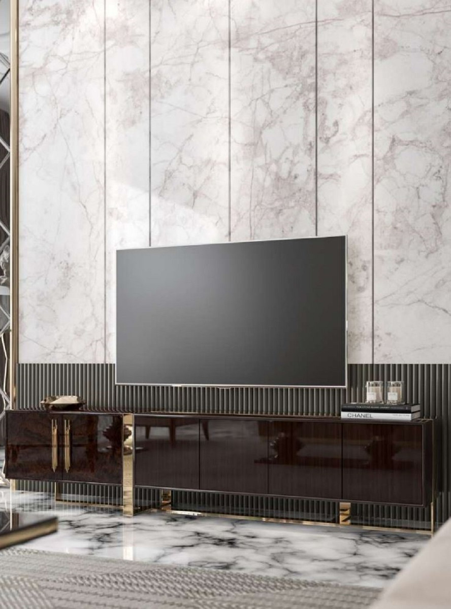 casa padrino armoire tv art deco de luxe marron fonce brillant or meuble tv de salon noble avec 6 portes mobilier art deco