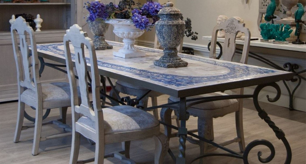 casa padrino luxury baroque dining table handmade wrought iron kitchen table with natural stone mosaic tile table top garden table terrace table