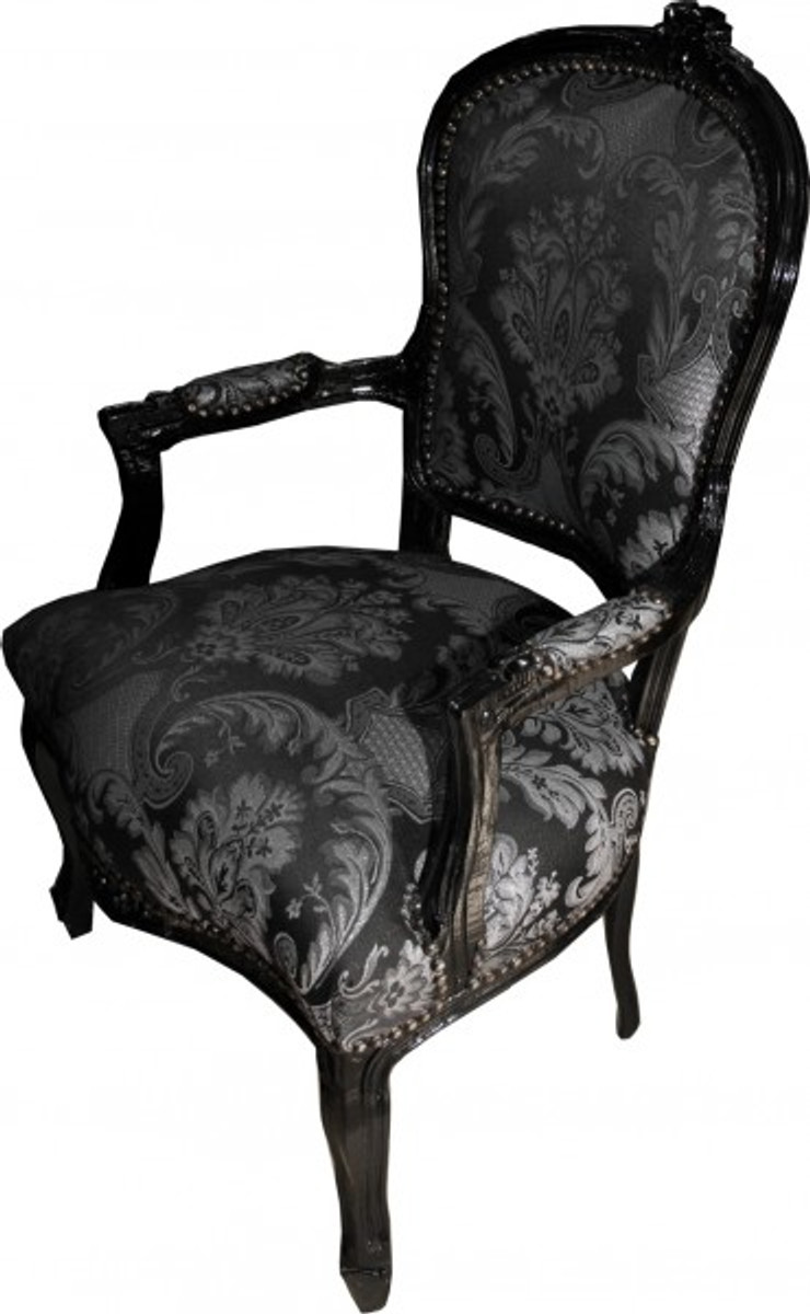 casa padrino baroque salon chaise noir motif noir meubles