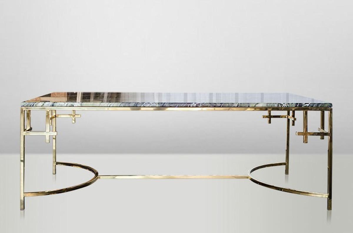 casa padrino art deco coffee table gold metal marble 130 x 70 cm art nouveau table living room