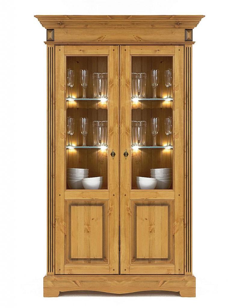 vitrine 2turig kiefer vitrinenschrank goldbraun lackiert honigfarben