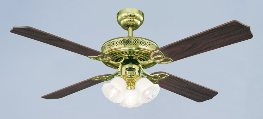 Westinghouse ceiling fan Monarch Trio polished brass 132 cm   52     Westinghouse ceiling fan Monarch Trio polished brass 132 cm   52 quot  with  lights     Bild