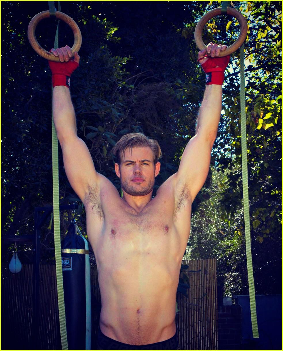 trevor donovan goes shirtless shows off home gym 014034400