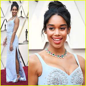 Laura Harrier Shines in Baby Blue at Oscars 2019