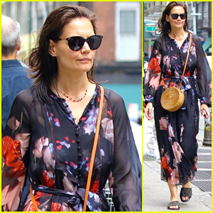 Katie Holmes Strolls Through New York City in a Sheer Floral Robe