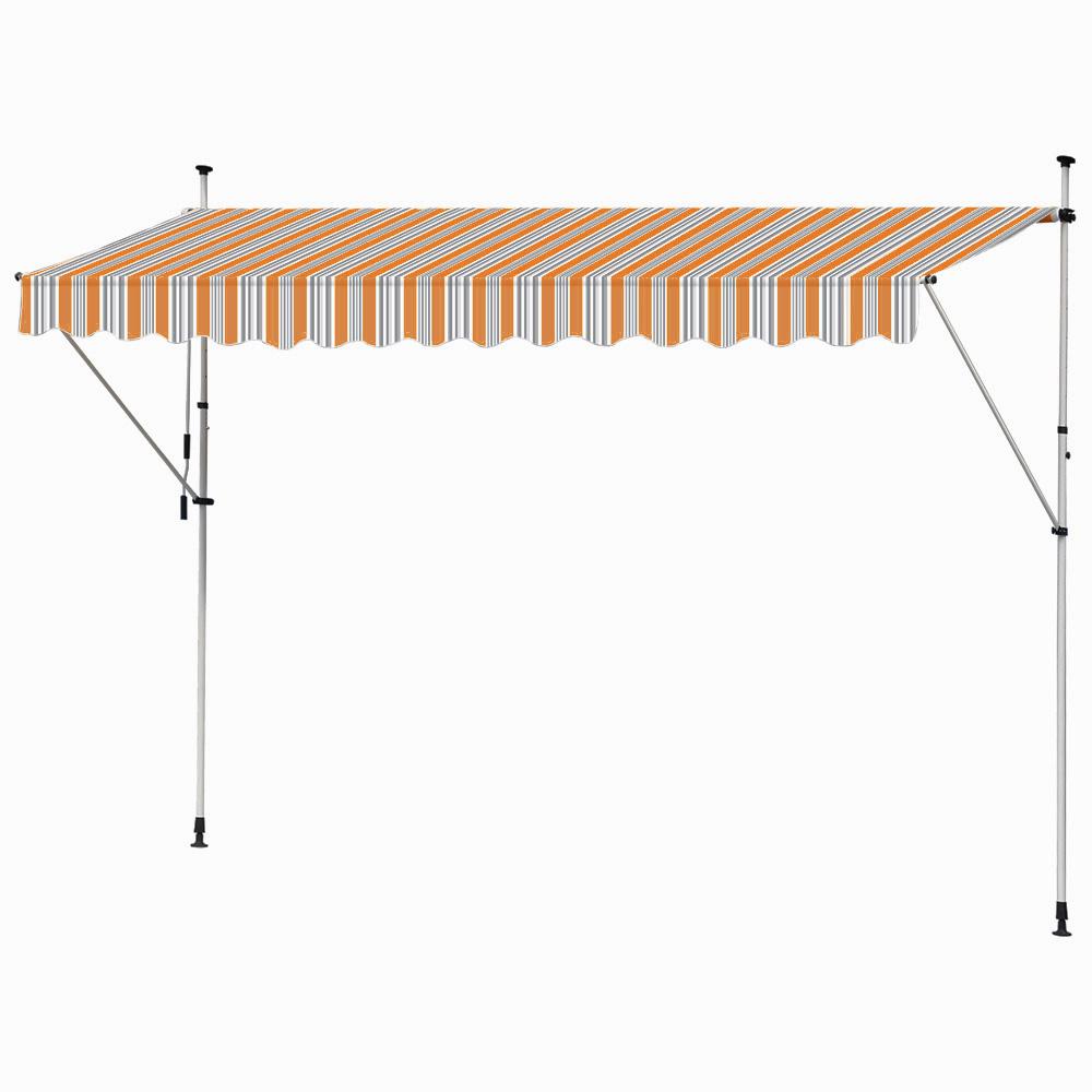 manual awning canopy outdoor terasse patio clamp sun shade sunscreen 400 cm orange grey kingpower ceres webshop