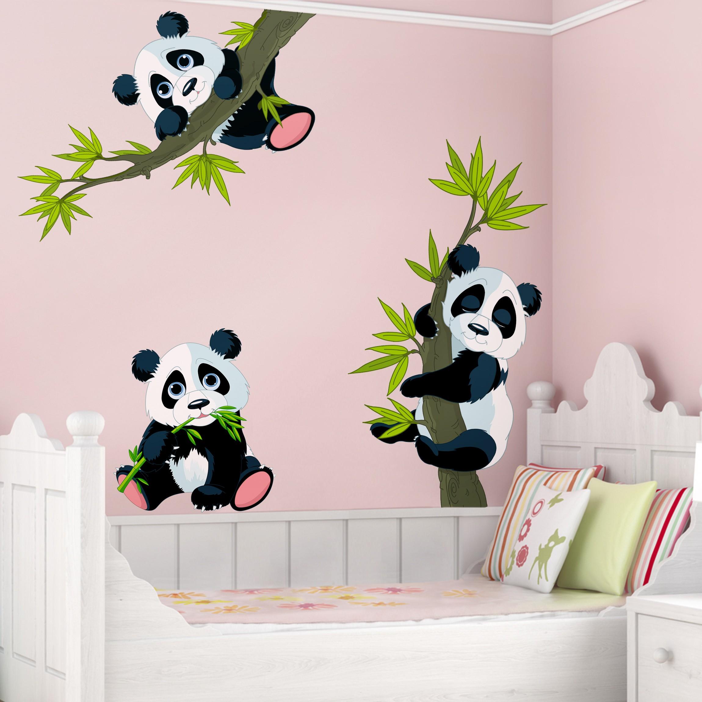 Wandtattoo Kinderzimmer Pandabaren Set