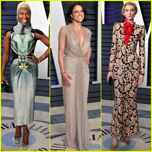 Cynthia Erivo, Michelle Rodriguez, & Elizabeth Debicki Reunite at Vanity Fair Oscars Party
