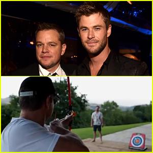 Matt Damon Shoots an Arrow at Chris Hemsworth, But See What Happens Next! (Video)