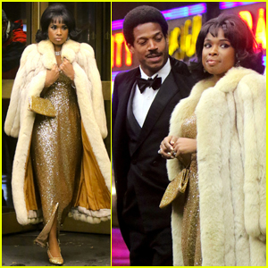 Jennifer Hudson Dazzles in Gold Gown While Filming Aretha Franklin Biopic 'Respect'