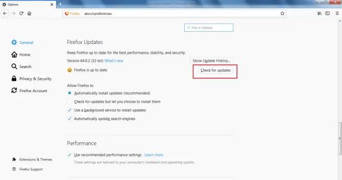 Manually update Firefox