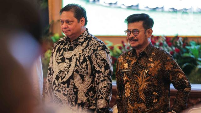 Menko Bidang Perekonomian Airlangga Hartarto dan Menteri Pertanian Syahrul Yasin Limpo