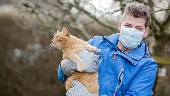 Man with allergies and cat