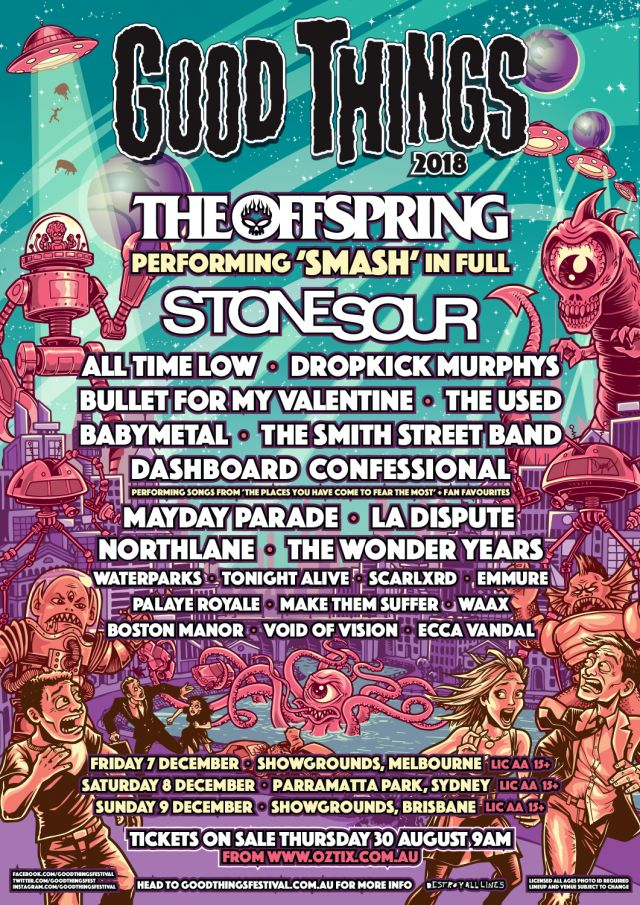 The Offspring Amp Stone Sour Lead 2018 Good Things Festival