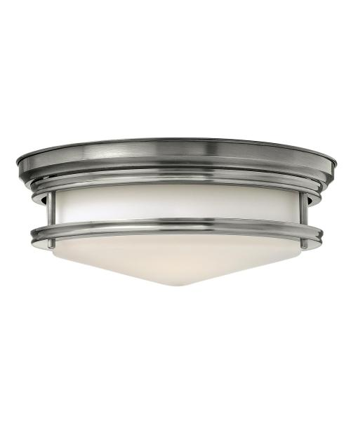 Hinkley Lighting 3301 Hadley 14 Inch Wide Flush Mount   Capitol     magnifying glass image Shown in Antique Nickel finish and Etched Opal glass