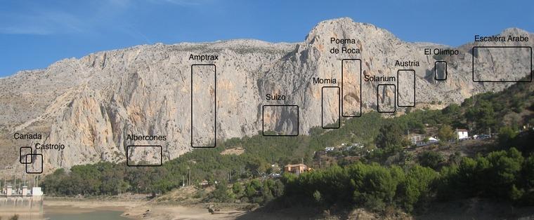 Sectores de escalada de El Chorro, Málaga. Fonte: https://27crags.com/crags/frontales/topos