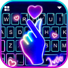 Love Heart Neon Keyboard Background