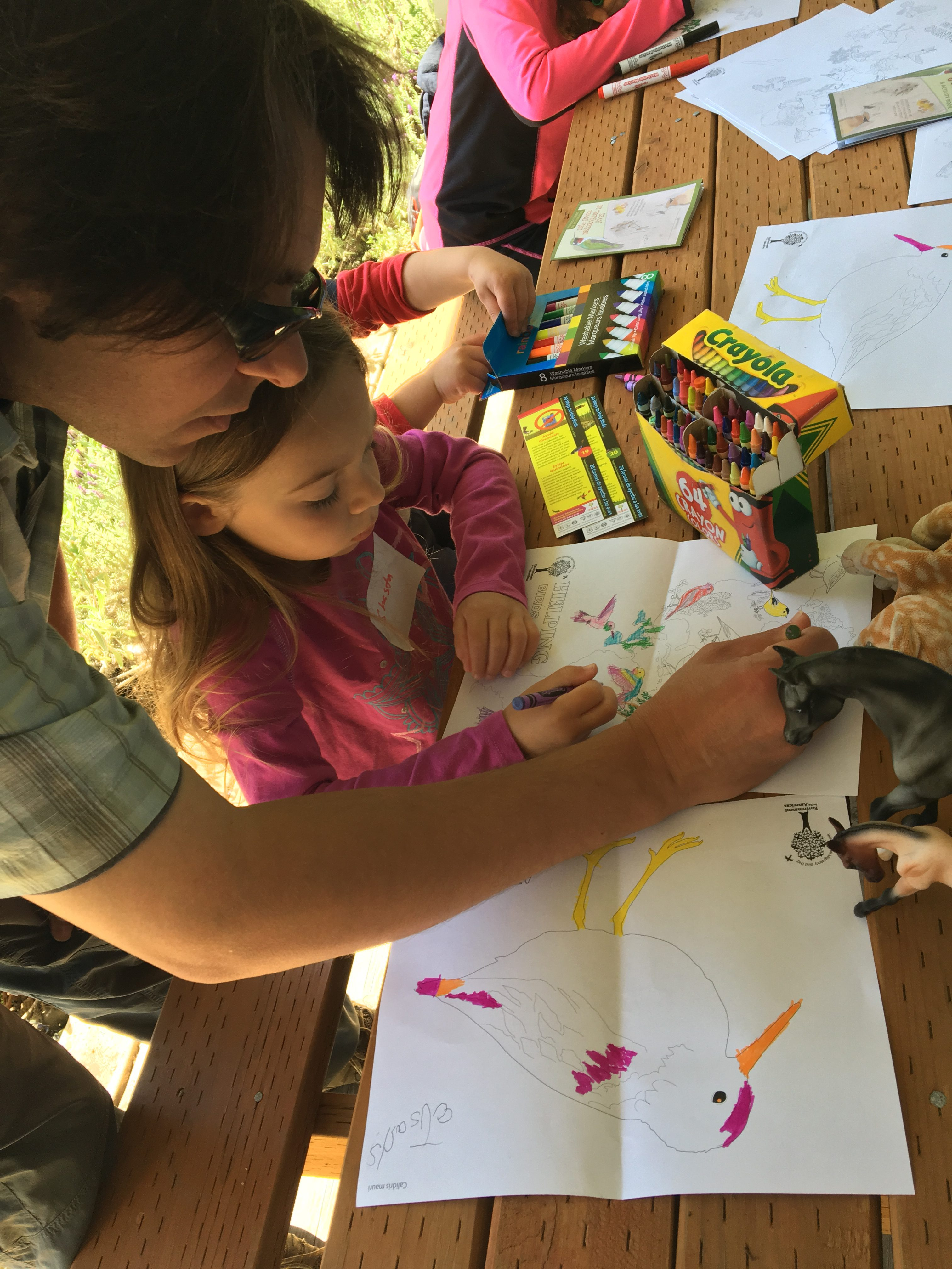 A Bird's Eye View station where kids are learning more about observing birds and coloring pictures of key migratory bird species.
