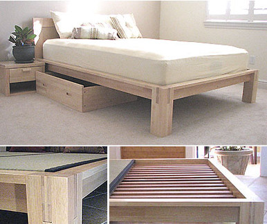 TALL Tatami Platform Bed Natural Finish
