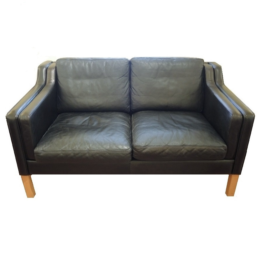 vintage danish modern black leather 2 seater sofa or couch