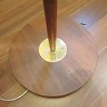 Mid Century Modern Vintage Teak And Brass Banded Floor Lamp