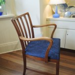 Vintage Danish Beech Spindle Back Armchair New Upholstery In Stock