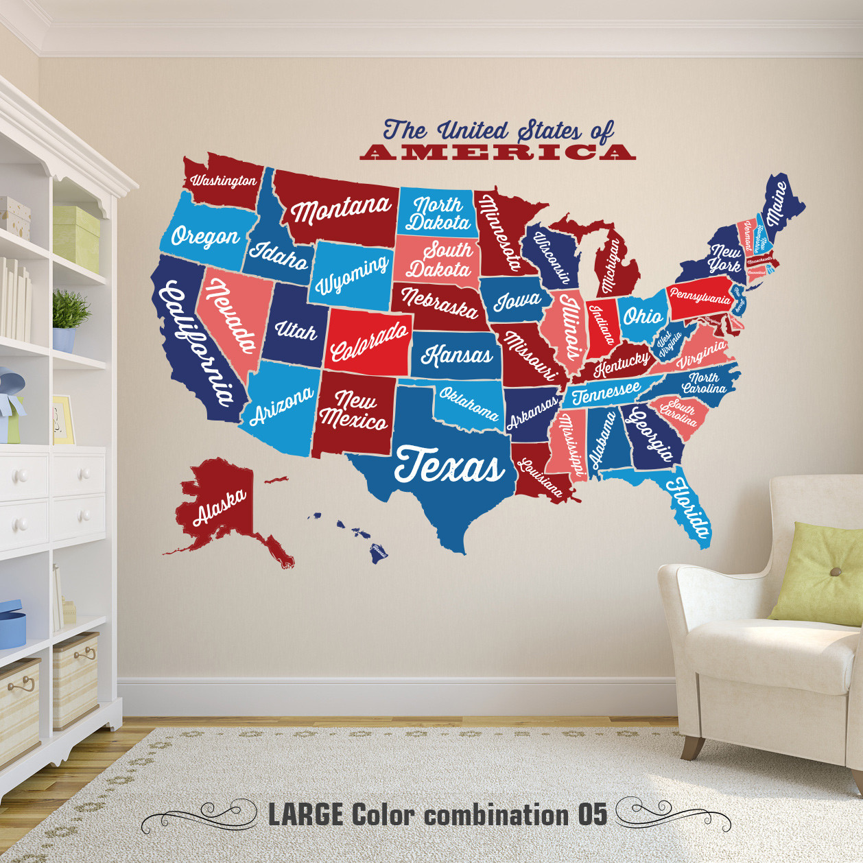 United States Map  Decal USA Map Sticker  State Map Wall Mural  Map     USA Wall Decal Map Vintage Retro www AmeriDecals com