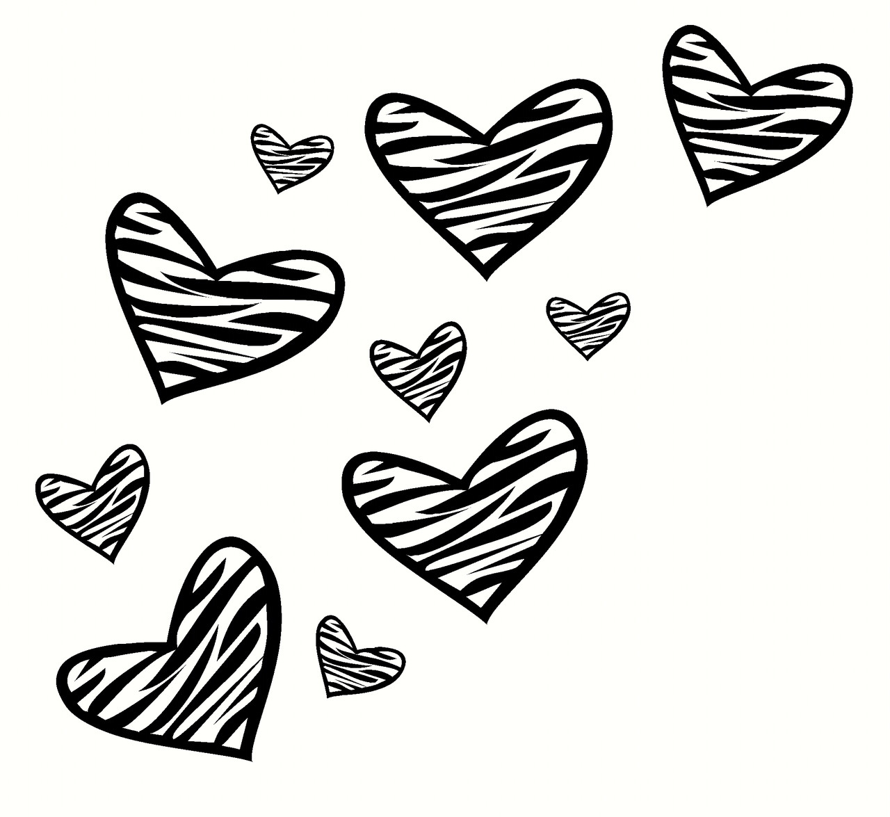 Zebra Print Heart Wall Decor Stickers 10pc