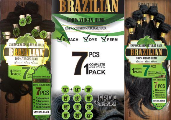 Amy Unprocessed Brazilian Remy Human Hair 7pcs