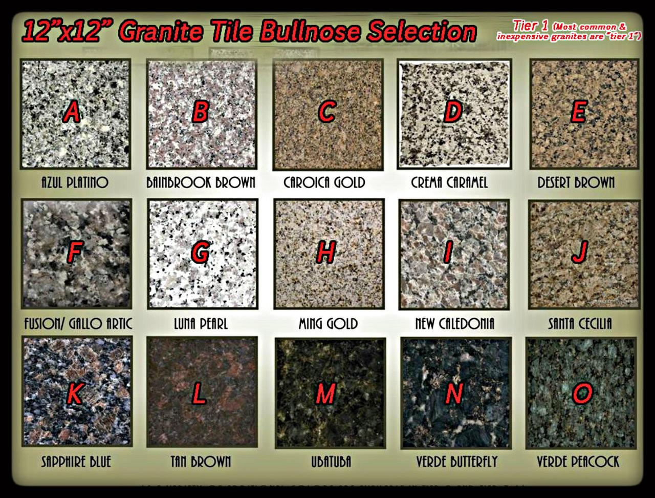 package of thirty 30 pieces 12x12 granite tile bullnosed one edge bullnosed per tile pick granite color