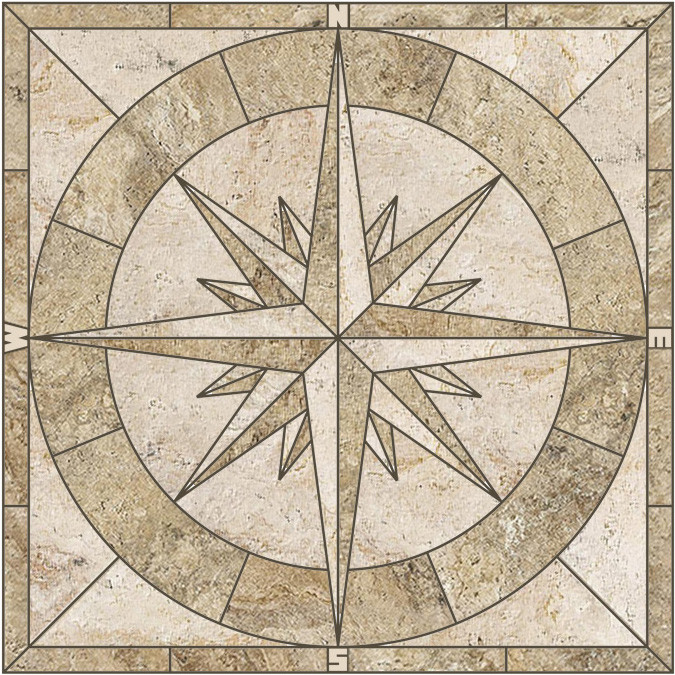 porcelain stone look tile mosaic medallion captain s compass rose choose from 24 30 36 or 48