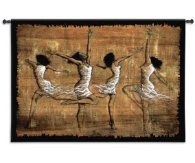 Rejoice By Monica Stewart Woven Tapestry Wall Art Hanging African American Festive Dancers 100 Cotton Usa Size 52x35