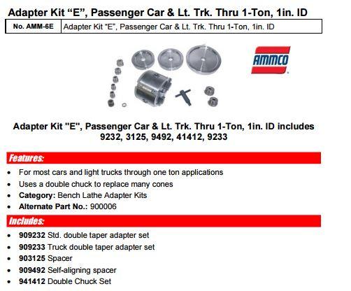 Ammco Brake Lathe Adapter Kit Quot E Quot Chuck Based Amm 900006