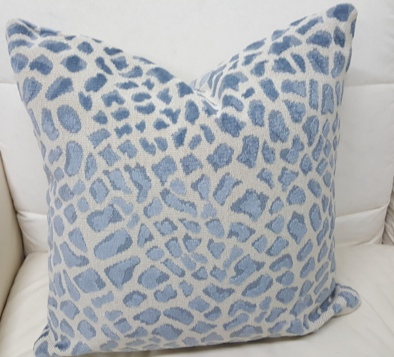 leopard throw pillow blue and ivory
