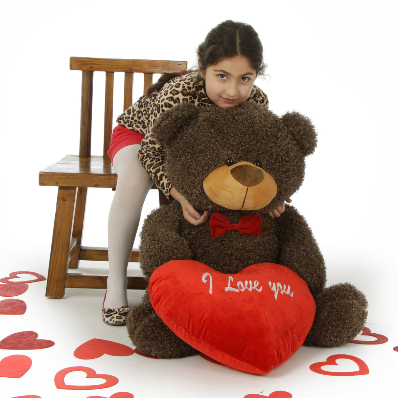 Huge Fluffy Choc Brown Valentines Day Teddy Bears Red I