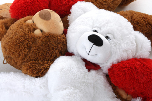 Cutest Of All Big White Teddy Bears With Heart Pillow
