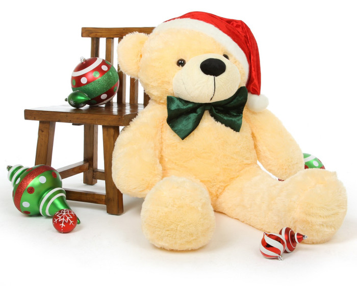 Cozy Chirstmas Cuddles 48 Inch Cream Holiday Teddy Bear