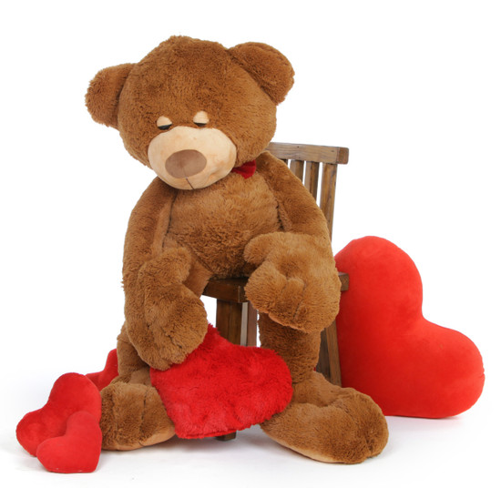 52in Chester Mittens Giant Teddy Bear With Red Plush Heart