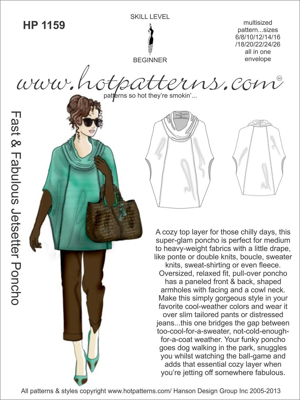 Fast and Fabulous Jetsetter Poncho from Hot Patterns