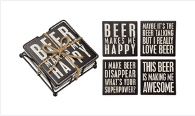 coasters,beer,beer lover,stone,4 pack